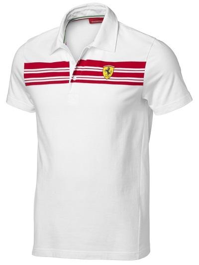 Ferrari bílé polo tričko (Luxusní tričko s límečkem v bílé barvě Ferrari)