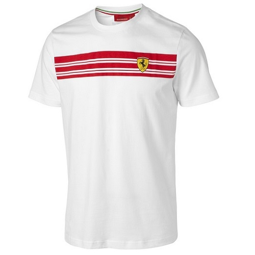 Triko Ferrari bílé (Bílé tričko s krátkým rukávem značky Ferrari)