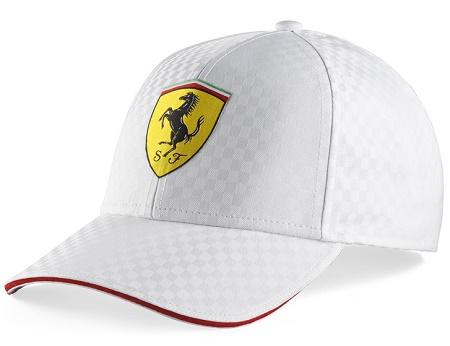 Ferrari bílá kšiltovka (Luxusní čepice s kšiltem v bílé barvě značky Ferrari )