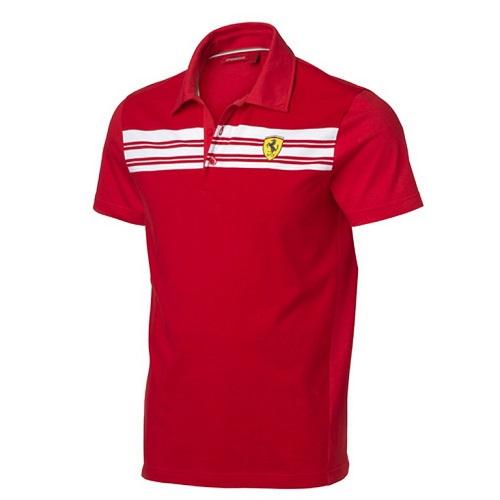 Ferrari polo triko červené (Luxusní tričko s límečkem v červené barvě Ferrari)