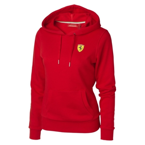 Ferrari dámská mikina s kapucí (Sportovní bunda s kapucí v červené barvě Ferrari)