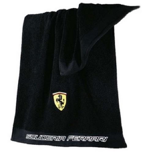 Ferrari černý ručník (Praktický ručník 50 x 100 cm v černé barvě Ferrari)