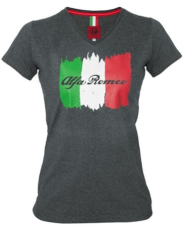 Dámské triko Alfa Romeo šedé (Tričko v šedé barvě s krátkým rukávem Alfa Romeo)