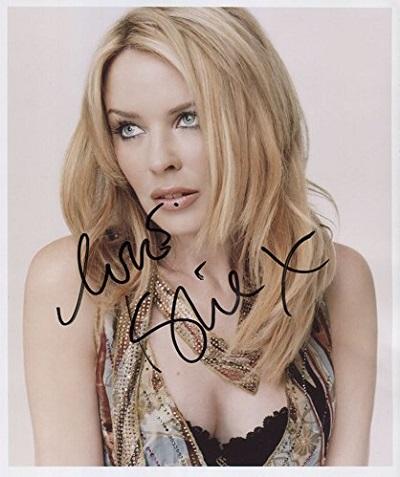 Kylie Minogue fotografie s podpisem (Originální fotografie Kylie Minogue)